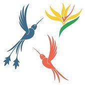 Hummingbird icons set — Stock Vector