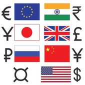 Currency  icons set — Stock Vector