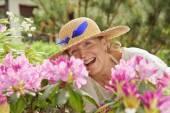 Senior woman laughing — Stock Photo