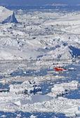 Illulisat Icefjord filled with large icebergs — Stock Photo
