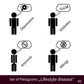 Set of Lifestyle disease pictograms no.2 — Stock Vector