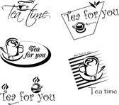 Cup of tea, various provisions, design, design for menus, signage — Stock Vector