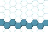 Hexagon bottom line blue and grid — Stock Photo
