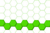 Hexagon bottom line green and grid — Stock Photo