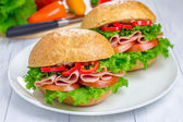 Healthy sandwiches with ham  — Stock Photo