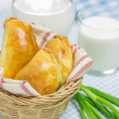 Russian pastries (pirogi) filled with eggs and green onion — Stock Photo #72402723