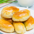 Russian pastries (pirogi) filled with eggs and green onion, closeup — Stock Photo #76041969