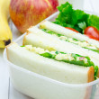 Lunch box with egg salad sandwiches, apple, banana and milk — Stock Photo #80554246