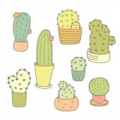 Cactuses Icons Set — Stock Vector