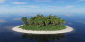 Lonely tropical island with palm trees. — Stock Photo