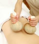 Massage with Herbal Balls — Stock Photo
