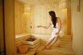 Woman in a steam room — Stock Photo