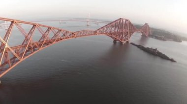 Aerial shot revealing the Forth Rail Bridge outside Edinburgh — Stock Video