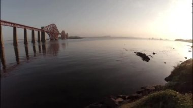 Aerial shot revealing the Forth Rail Bridge outside Edinburgh — Stock Video