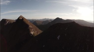 Spectacular aerial shot on Sgurr a'Mhaim mountain, Scottish Highlands — Stock Video