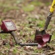 Metal detector and spade propped up in field ready for use — Stock Video #69123935
