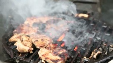 Steaks on barbecue grill — Stock Video