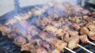 Video ad alta definizione di spiedini di carne di maiale e pollo sulla griglia del barbecue — Video Stock