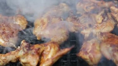 Chicken meat on barbecue grill — Stock Video