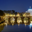 Night view of Rome, St Peter's Basilica and bridge on Tiber river — Stock Photo #68425553