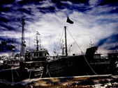 Mysterious scenery of derelict vessels — Stock Photo