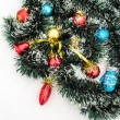 Christmas toys with tinsel snow — Stockfoto #68677869