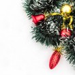 Christmas toys with tinsel snow — Stockfoto #68677901