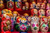 The Russians colorful wooden matryoshka dolls — Stock Photo