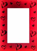 Red frame for photo with hearts — Stock Photo