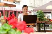 Freelance travail réussi jeune femme — Photo