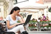 Successful woman working freelance — Stock Photo