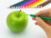 Drawing Apple — Stock Photo
