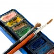 Container of watercolors with brushes — Stock Photo #68752175