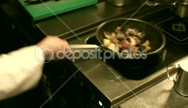 Chef Friyng and Seasoning Meat with Mushrooms — Stock Video