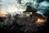 Dos tanques destruidos en la zona — Foto de Stock