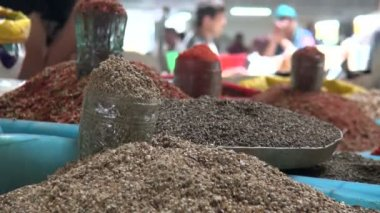 Spice sectio of Chorsu bazaar — Stock Video
