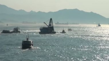 Victoria Harbor in Hong Kong. — Stock Video