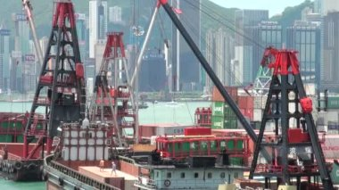 Cranes and containers in in Hong Kong — Stock Video