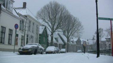 Snow storm in  village — Stock Video