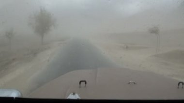 Driving through a sandstorm — Stock Video