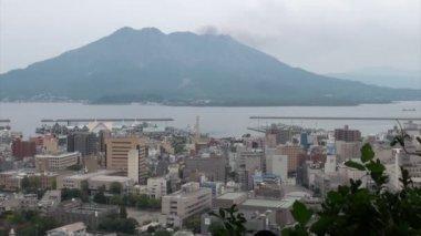 Kagoshima city with volcno — Stock Video
