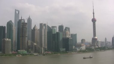 Shanghai skyline in Pudong — Stock Video