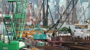 Construction site in Hong Kong. — Stock Video