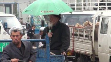 People enter animal bazaar — Stok video