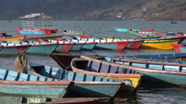 Boats bobbing at Phewa lake in Pokhara — Stock Video
