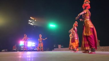 Dance performance on stage at a festival — Stock Video