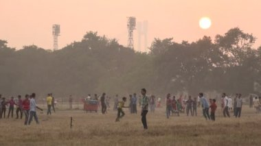 Men play cricket at sunset — Stock Video