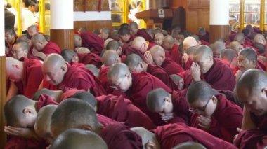 修道士のグループに出席公共の教え — ストックビデオ