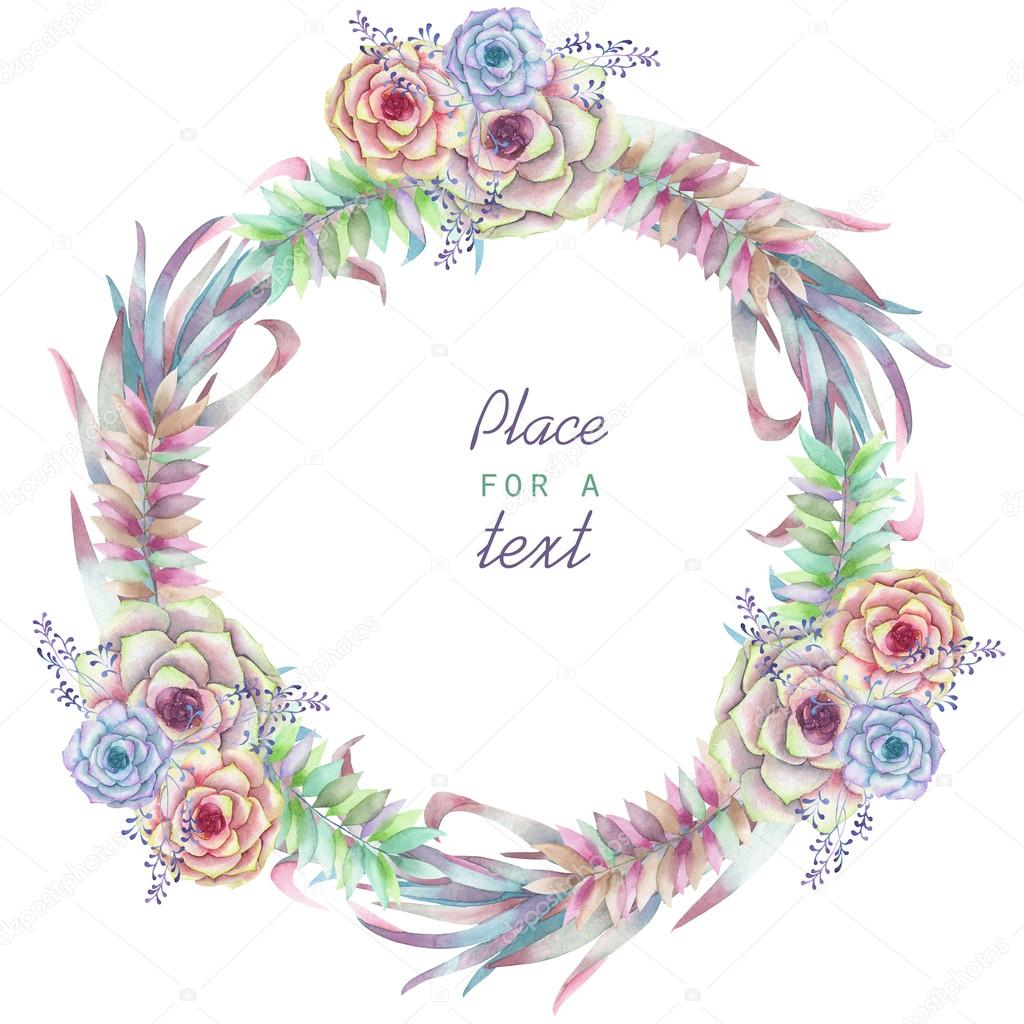 a circle frame wreath frame border with the watercolor flowers and succulents wedding. Black Bedroom Furniture Sets. Home Design Ideas