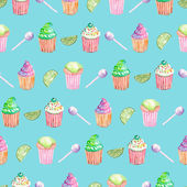 Pattern with muffins, lime and candy — Stock Photo